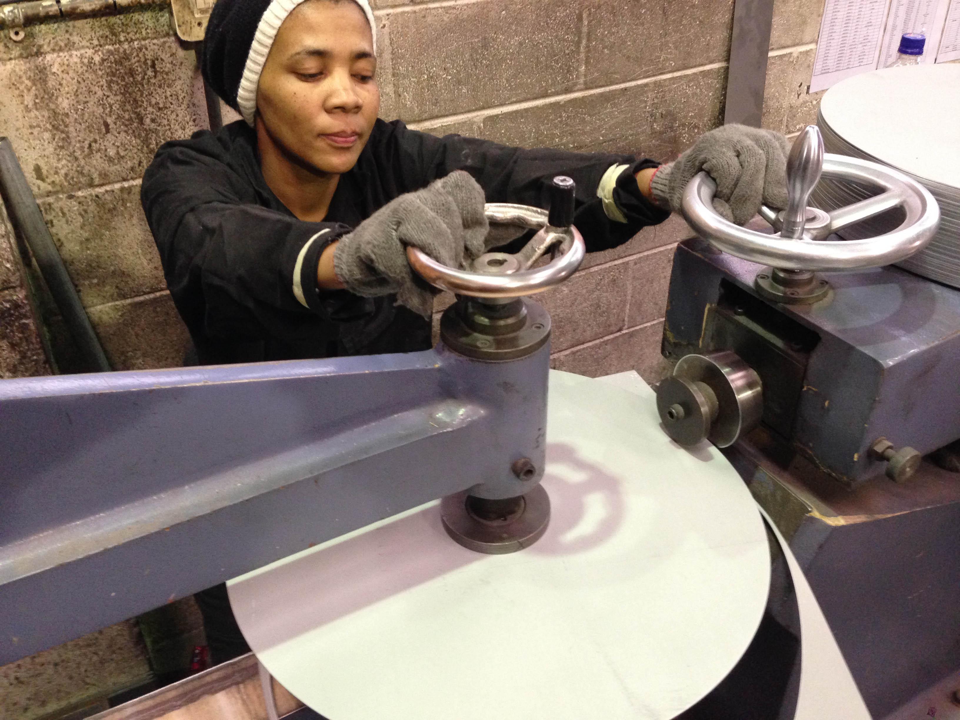 Preparing blanks for spinning.